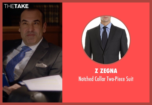 Z Zegna black suit from Suits seen with Louis Litt (Rick Hoffman)