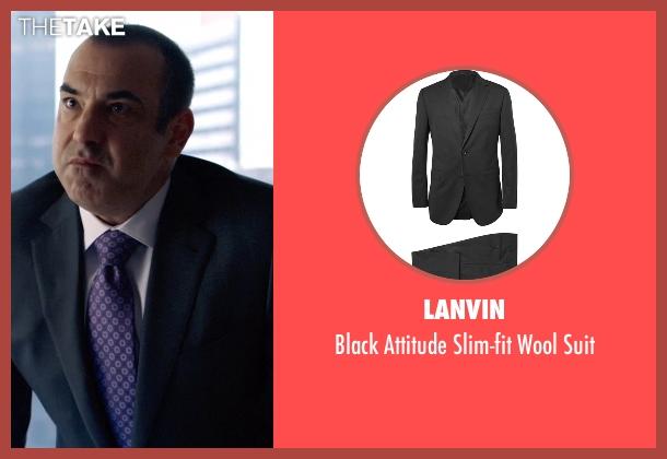 Lanvin black suit from Suits seen with Louis Litt (Rick Hoffman)