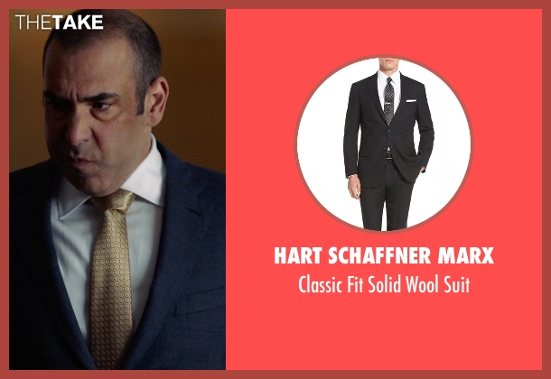Hart Schaffner Marx black suit from Suits seen with  Louis Litt (Rick Hoffman)