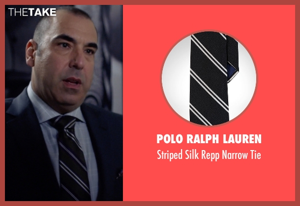 Polo Ralph Lauren black tie from Suits seen with Louis Litt (Rick Hoffman)