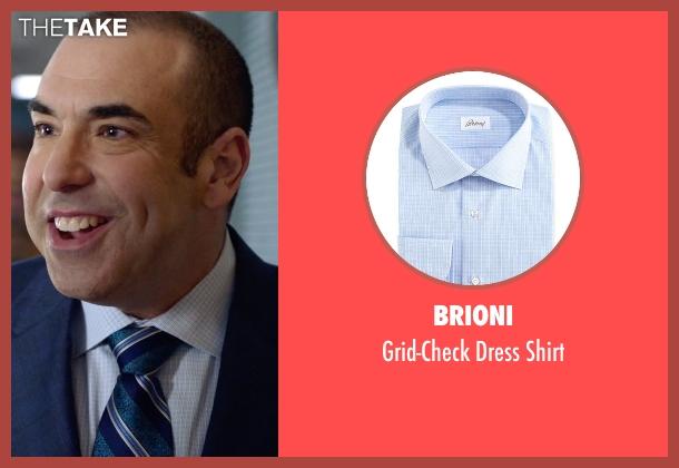 Brioni blue shirt from Suits seen with  Louis Litt (Rick Hoffman)