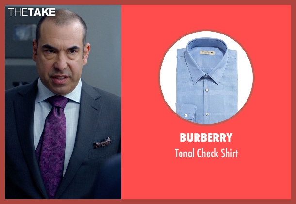 Burberry	 blue shirt from Suits seen with  Louis Litt (Rick Hoffman)