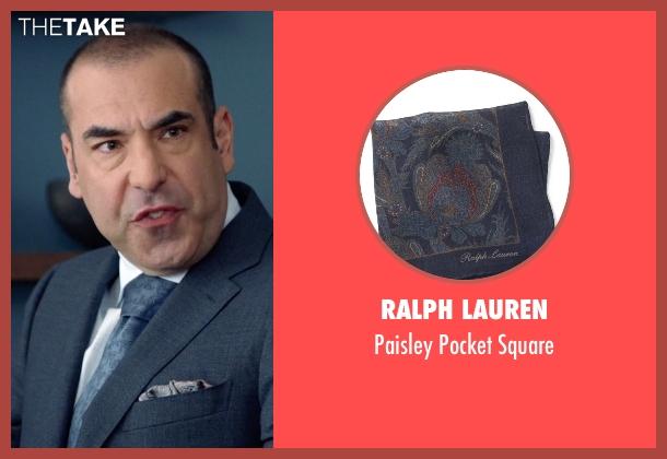 Ralph Lauren blue square from Suits seen with  Louis Litt (Rick Hoffman)