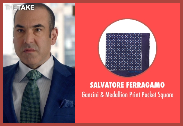 Salvatore Ferragamo blue square from Suits seen with  Louis Litt (Rick Hoffman)