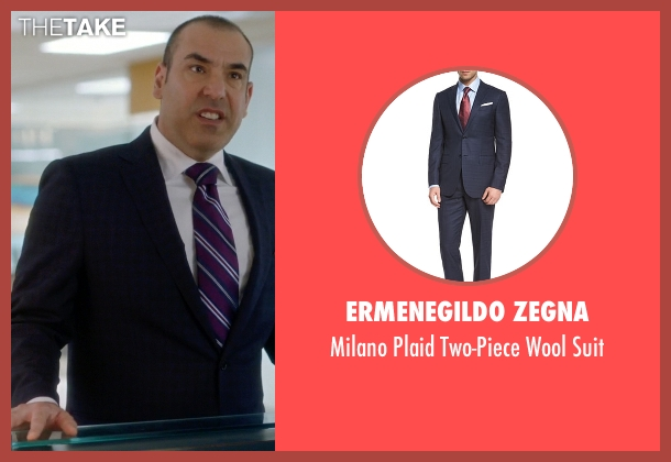 Ermenegildo Zegna blue suit from Suits seen with  Louis Litt (Rick Hoffman)