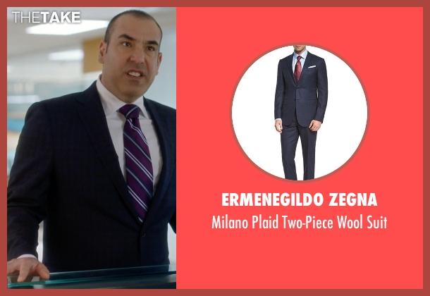 Ermenegildo Zegna blue suit from Suits seen with  Louis Litt (Rick Hoffman)
