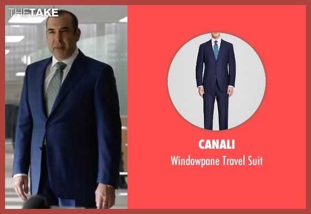 Canali blue suit from Suits seen with  Louis Litt (Rick Hoffman)