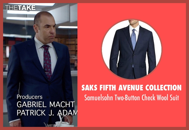 Saks Fifth Avenue Collection blue suit from Suits seen with  Louis Litt (Rick Hoffman)