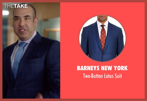 Barneys New York blue suit from Suits seen with  Louis Litt (Rick Hoffman)