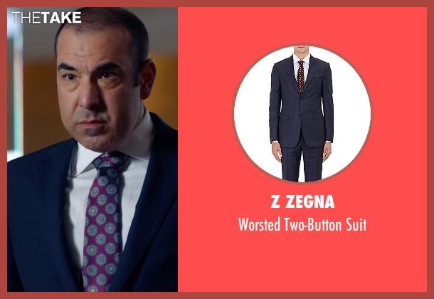 Z Zegna blue suit from Suits seen with  Louis Litt (Rick Hoffman)
