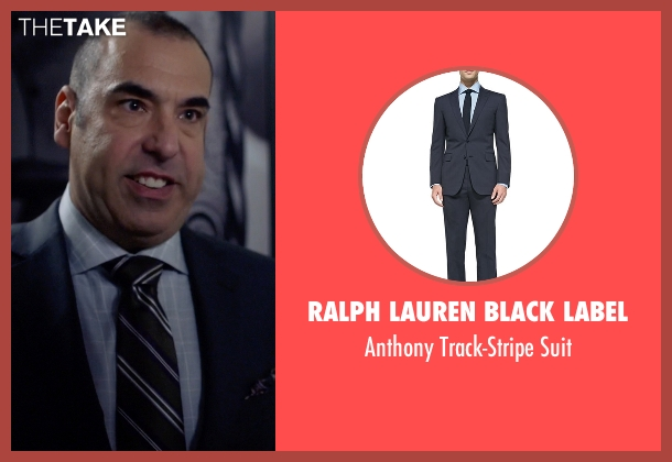 Ralph Lauren Black Label blue suit from Suits seen with  Louis Litt (Rick Hoffman)