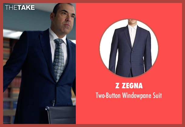 Z Zegna blue suit from Suits seen with  Louis Litt (Rick Hoffman)