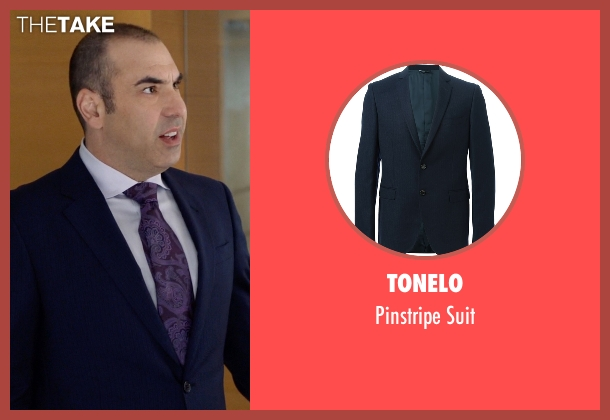Tonelo blue suit from Suits seen with  Louis Litt (Rick Hoffman)