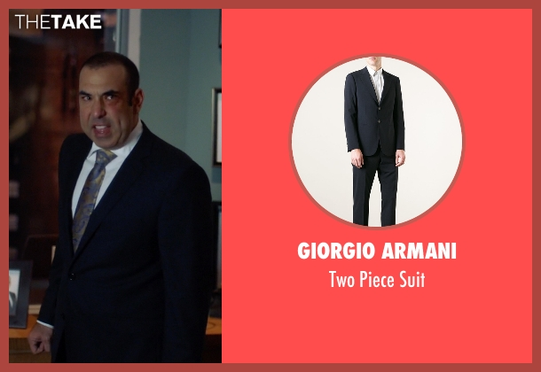 Giorgio Armani blue suit from Suits seen with  Louis Litt (Rick Hoffman)