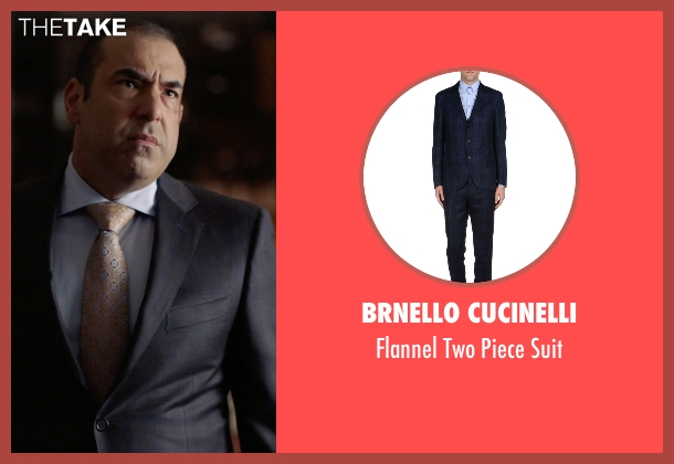 Brnello Cucinelli blue suit from Suits seen with  Louis Litt (Rick Hoffman)
