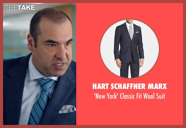 Hart Schaffner Marx blue suit from Suits seen with  Louis Litt (Rick Hoffman)