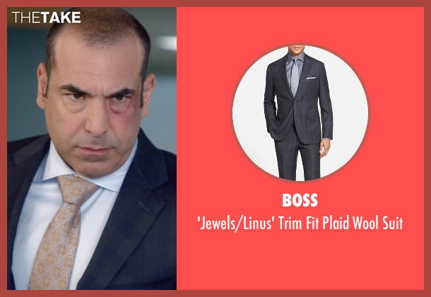 Boss blue suit from Suits seen with  Louis Litt (Rick Hoffman)
