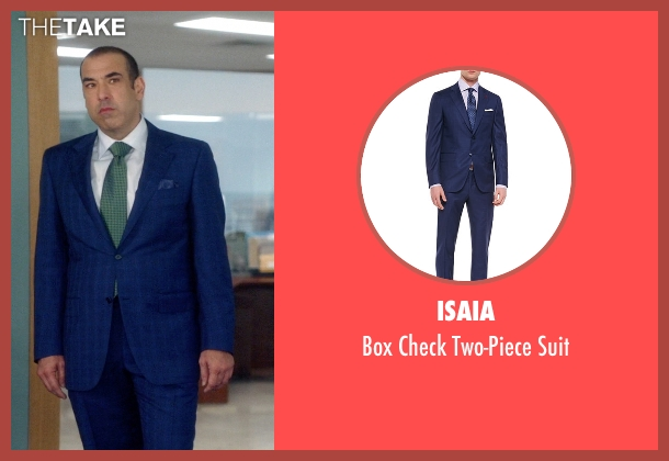 Isaia blue suit from Suits seen with Louis Litt (Rick Hoffman)
