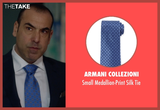 Armani Collezioni blue tie from Suits seen with  Louis Litt (Rick Hoffman)