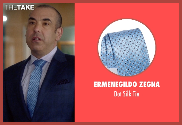 Ermenegildo Zegna blue tie from Suits seen with  Louis Litt (Rick Hoffman)