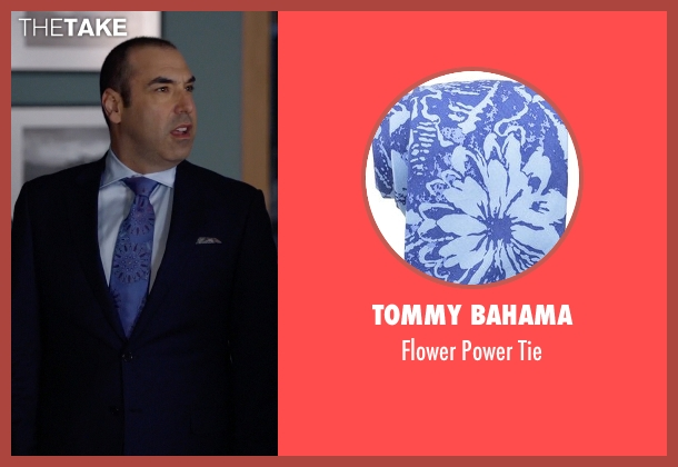 Tommy Bahama blue tie from Suits seen with  Louis Litt (Rick Hoffman)