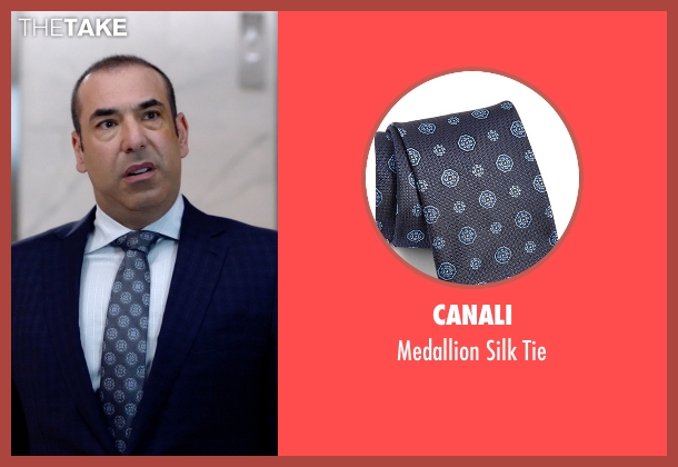 Canali blue tie from Suits seen with  Louis Litt (Rick Hoffman)