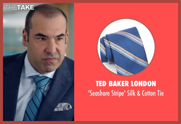 Ted Baker London blue tie from Suits seen with  Louis Litt (Rick Hoffman)