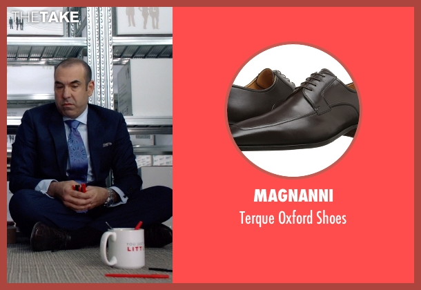 Magnanni brown shoes from Suits seen with Louis Litt (Rick Hoffman)