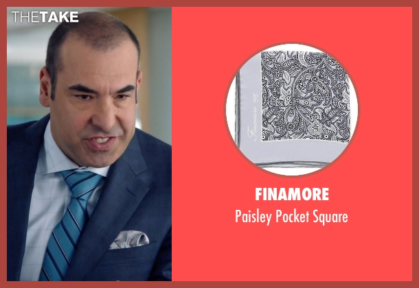 Finamore gray square from Suits seen with  Louis Litt (Rick Hoffman)