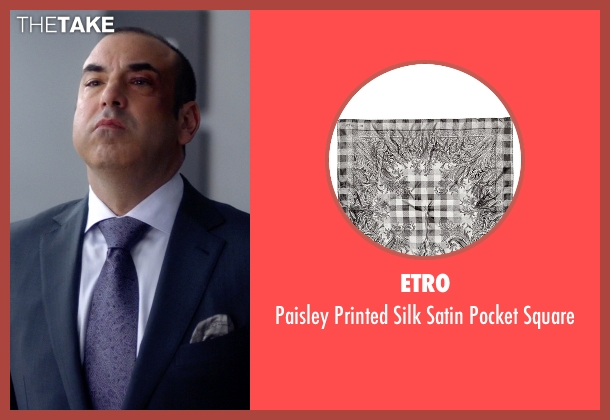 ETRO gray square from Suits seen with  Louis Litt (Rick Hoffman)