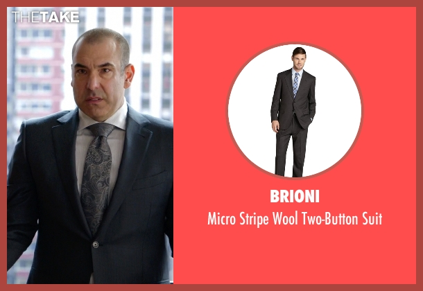 Brioni gray suit from Suits seen with Louis Litt (Rick Hoffman)