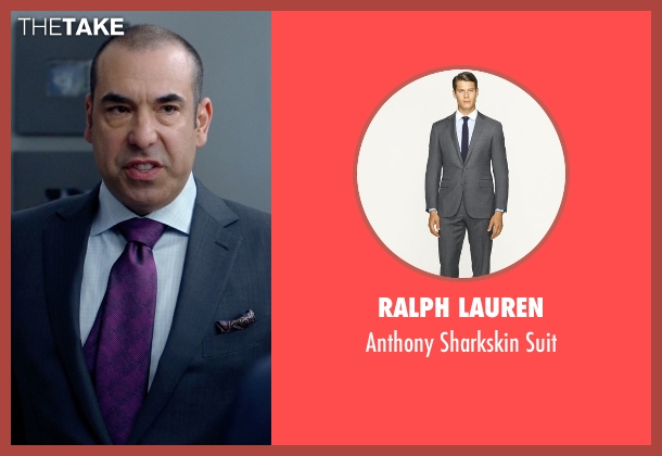 Ralph Lauren gray suit from Suits seen with  Louis Litt (Rick Hoffman)
