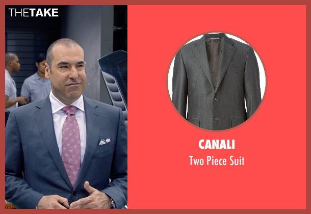 Canali gray suit from Suits seen with  Louis Litt (Rick Hoffman)