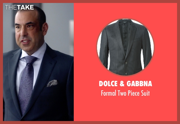 Dolce & Gabbna gray suit from Suits seen with  Louis Litt (Rick Hoffman)