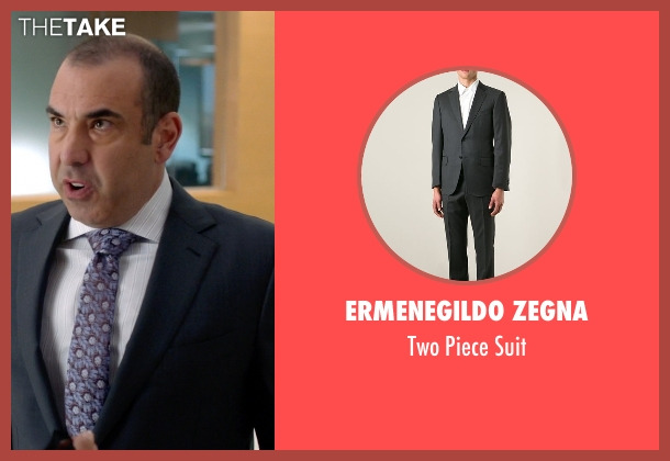 Ermenegildo Zegna gray suit from Suits seen with  Louis Litt (Rick Hoffman)