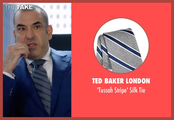 Ted Baker London gray tie from Suits seen with  Louis Litt (Rick Hoffman)