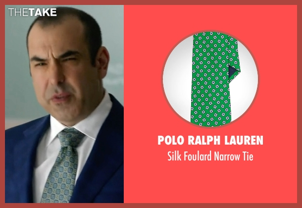 Polo Ralph Lauren green tie from Suits seen with  Louis Litt (Rick Hoffman)