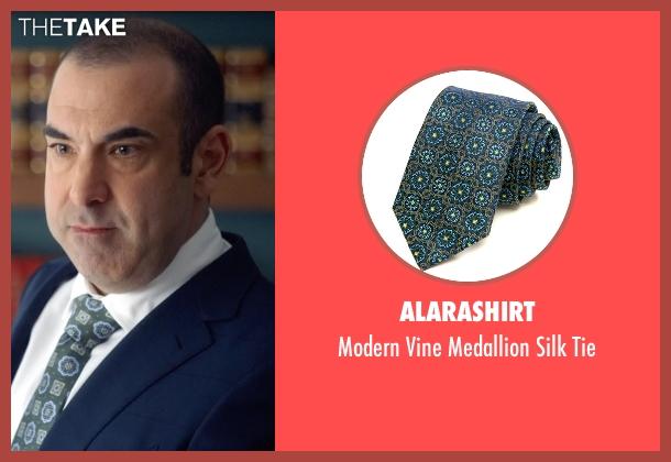 AlaraShirt green tie from Suits seen with Louis Litt (Rick Hoffman)
