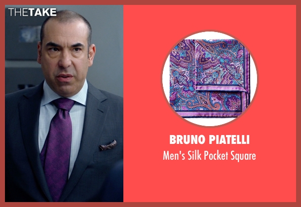 Bruno Piatelli purple square from Suits seen with  Louis Litt (Rick Hoffman)
