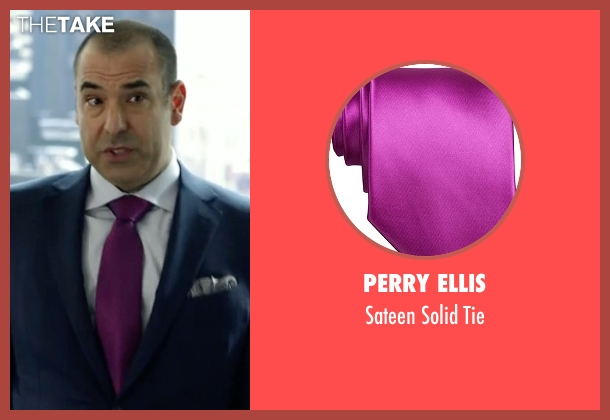Perry Ellis purple tie from Suits seen with  Louis Litt (Rick Hoffman)