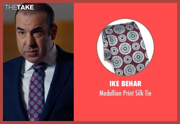 Ike Behar purple tie from Suits seen with  Louis Litt (Rick Hoffman)