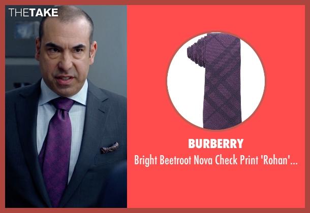 Burberry purple tie from Suits seen with  Louis Litt (Rick Hoffman)