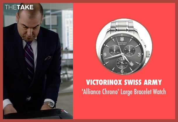 Victorinox Swiss Army silver watch from Suits seen with Louis Litt (Rick Hoffman)
