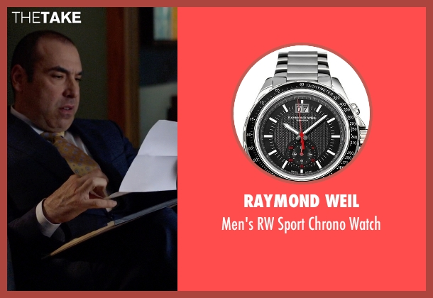 Raymond Weil silver watch from Suits seen with  Louis Litt (Rick Hoffman)