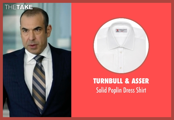 Turnbull & Asser white shirt from Suits seen with Louis Litt (Rick Hoffman)