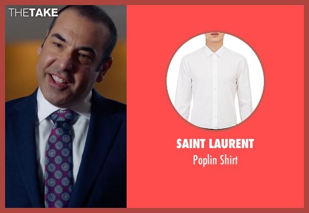 Saint Laurent white shirt from Suits seen with  Louis Litt (Rick Hoffman)