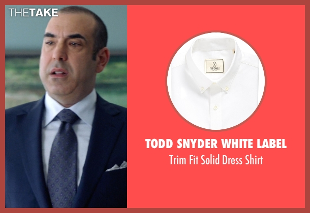Todd Snyder White Label white shirt from Suits seen with  Louis Litt (Rick Hoffman)