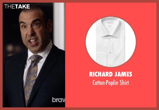 Richard James white shirt from Suits seen with  Louis Litt (Rick Hoffman)