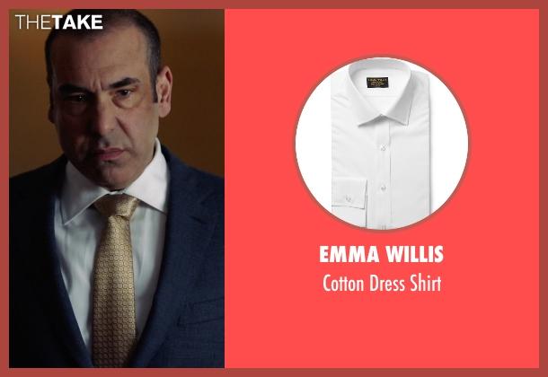 Emma Willis white shirt from Suits seen with  Louis Litt (Rick Hoffman)