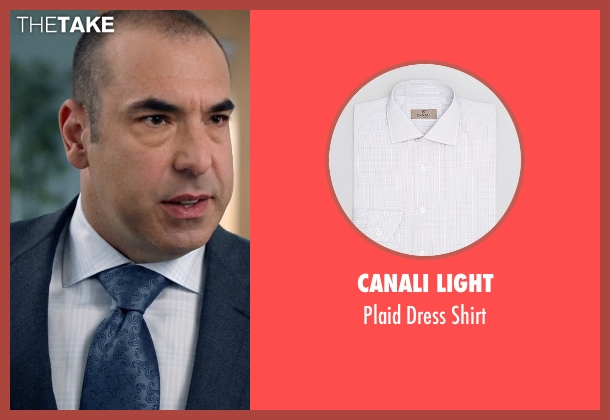 Canali Light white shirt from Suits seen with  Louis Litt (Rick Hoffman)